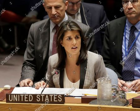 United States Ambassador to the United Nations Nikki Haley speaks during a security council meeting at United Nations headquarters. President Donald Trump's former U.N. ambassador, Nikki Haley, alleges in her upcoming memoir that two top administration officials, then-Secretary of State Rex Tillerson and then-White House chief of staff John Kelly, tried to enlist her in opposing some of Trump's policies