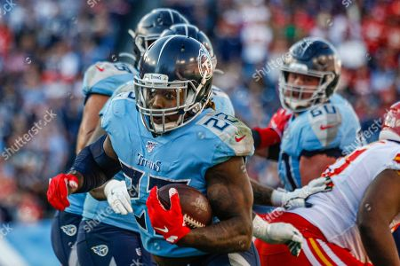 Stock Picture of Tennessee Titans running back Derrick Henry, 22, carries the ball against the Kansas City Chiefs in the second half of their NFL game at Nissan Stadium in Nashville, Tennessee, USA, 10 November 2019. The Titans won 35-32.