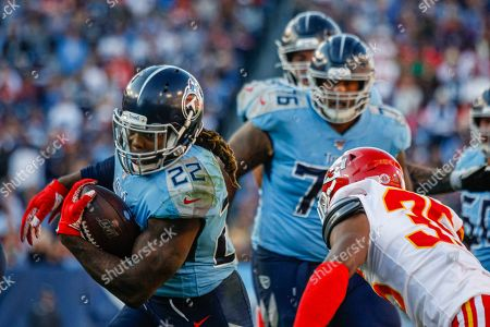 Tennessee Titans running back Derrick Henry, 22, carries the ball against the Kansas City Chiefs in the second half of their NFL game at Nissan Stadium in Nashville, Tennessee, USA, 10 November 2019. The Titans won 35-32.