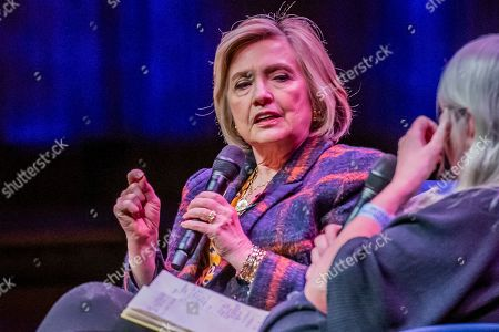 Hillary Clinton discusses The Book of Gutsy Women with Mary Beard at Southbank Centre's Royal Festival Hall.