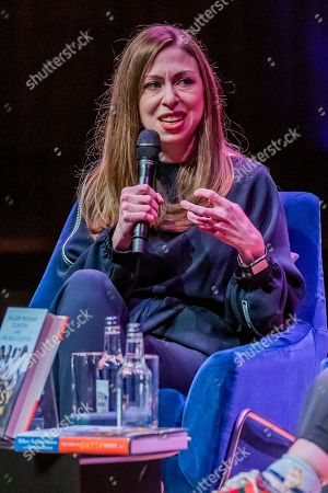 Stock Photo of Chelsea Clinton discusses The Book of Gutsy Women with Mary Beard at Southbank Centre's Royal Festival Hall.