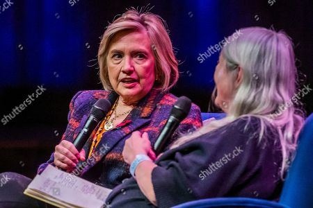 Hillary Clinton discusses 'The Book of Gutsy Women' with Mary Beard at Southbank Centre's Royal Festival Hall.