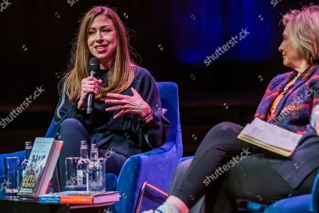 Chelsea Clinton discuss 'The Book of Gutsy Women' with Mary Beard at Southbank Centre's Royal Festival Hall.
