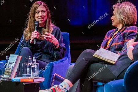 Hillary Clinton and Chelsea Clinton discuss 'The Book of Gutsy Women' at Southbank Centre's Royal Festival Hall.