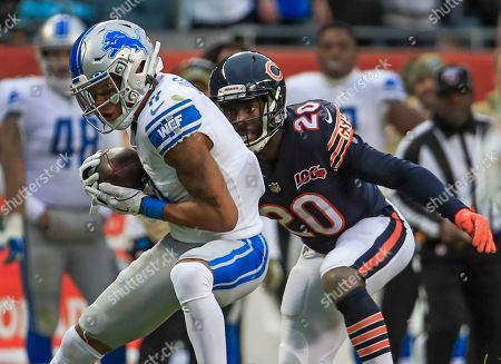 Detroit Lions wide receiver Marvin Jones (L) catches a pass in front of Chicago Bears cornerback Prince Amukamara (R) during the NFL game between the Detroit Lions and the Chicago Bears at Soldier Field in Chicago, Illinois, USA, 10 November 2019. The Bears won the game.