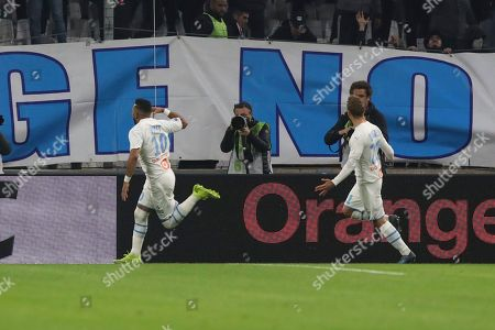 ONE. Marseille's Dimitri Payet celebrates scoring a penalty during the French League One soccer match between Marseille and Lyon at the Velodrome stadium in Marseille, southern France