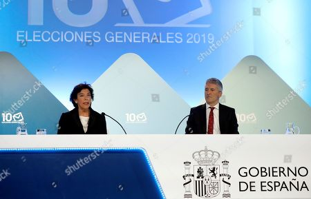 Spanish acting Minister of Interior, Fernando Grande Marlaska (R), and Spanish acting Government's spokeswoman and Education Minister, Isabel Celaa (L), hold a press conference to inform on the results of the general elections, in Madrid, Spain, 10 November 2019. With the 97.59 per cent of the votes counted, PSOE has won the general elections with 120 seats as the People's Party (PP) obtained 88 seats, Vox 52, Unidas Podemos 35 and Ciudadanos (Citizens) 10.