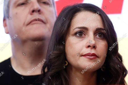 Stock Photo of Citizens' parliamentary Spokeswoman Ines Arrimadas Garcia (R), reacts during a press conference held following the general elections at the headquarters of the political formation in Madrid, Spain, 10 November 2019. With 99.85 per cent of the votes counted, PSOE has won 120 seats, PP 87, Vox 52, Unidas Podemos 35 and Ciudadanos 10.