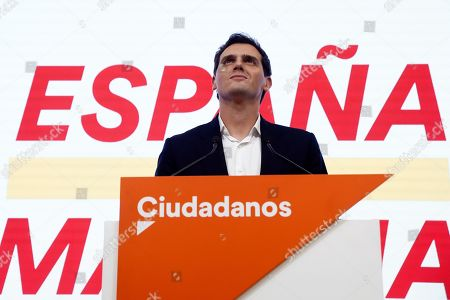Leader Ciudadanos party (Citizens), Albert Rivera, reacts during a press conference held following the general elections at the headquarters of the political formation in Madrid, Spain, 10 November 2019. With 99.85 per cent of the votes counted, PSOE has won 120 seats, PP 87, Vox 52, Unidas Podemos 35 and Ciudadanos 10.