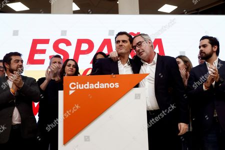Leader Ciudadanos party (Citizens), Albert Rivera (C-L), and Secretary-General, Jose Manuel Villegas (C-R), reacts during a press conference held following the general elections at the headquarters of the political formation in Madrid, Spain, 10 November 2019. With 99.85 per cent of the votes counted, PSOE has won 120 seats, PP 87, Vox 52, Unidas Podemos 35 and Ciudadanos 10.