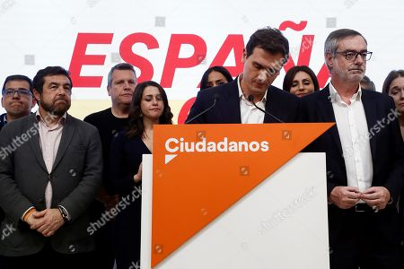 Leader Ciudadanos party (Citizens), Albert Rivera (2-R), reacts during a press conference held following the general elections at the headquarters of the political formation in Madrid, Spain, 10 November 2019. With 99.85 per cent of the votes counted, PSOE has won 120 seats, PP 87, Vox 52, Unidas Podemos 35 and Ciudadanos 10.
