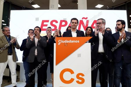 Leader Ciudadanos party (Citizens), Albert Rivera (C), reacts during a press conference held following the general elections at the headquarters of the political formation in Madrid, Spain, 10 November 2019. With 99.85 per cent of the votes counted, PSOE has won 120 seats, PP 87, Vox 52, Unidas Podemos 35 and Ciudadanos 10.