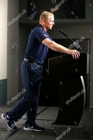 Dallas Cowboys head coach Jason Garrett speaks following the game between the Dallas Cowboys and Minnesota Vikings in an NFL football game in Arlington, Texas