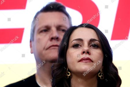 Citizens' parliamentary Spokeswoman Ines Arrimadas Garcia, reacts during a press conference held following the general elections at the headquarters of the political formation in Madrid, Spain, 10 November 2019. With 99.96 per cent of the votes counted, PSOE won 120 seats, PP 88, Vox 52, Unidas Podemos 35 and Ciudadanos 10.
