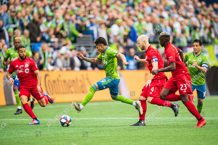 Seattle Sounders forward Raul Ruidiaz (9) during the MLS Cup Championship game between the Seattle Sounders and Toronto FC at CenturyLink Field on in Seattle, WA