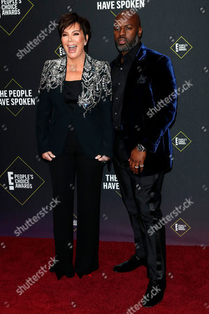 Kris Jenner (L) and US businessman Corey Gamble (R) arrive for the 2019 People's Choice Awards at the Barker Hangar in Santa Monica, California, USA, 10 November 2019.
