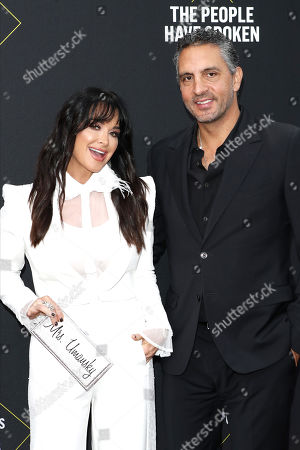 Kyle Richards (L) and Mexican real estate agent Mauricio Umansky (R) arrive for the 2019 People's Choice Awards at the Barker Hangar in Santa Monica, California, USA, 10 November 2019.
