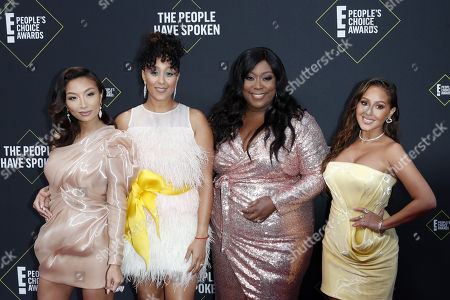 US personalities Jeannie Mai, Tamera Mowry-Housley, Loni Love and Adrienne Houghton arrive for the 2019 People's Choice Awards at the Barker Hangar in Santa Monica, California, USA, 10 November 2019.