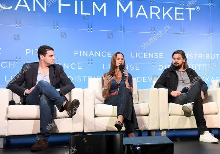 Stock Image of Jason M. Berman, President, Development & Production, Mandalay Pictures, Heather Rae, Principal/Producer, Iron Circle Pictures, John Zois, EVP, Acquisitions and Co-Productions, Anton, Jordana Mollick, Partner/Producer, Semi-Formal Productions
