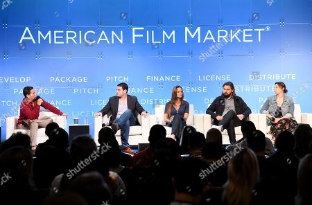 Stock Photo of Richard Botto, Founder & CEO, Stage 32, Jason M. Berman, President, Development & Production, Mandalay Pictures, Heather Rae, Principal/Producer, Iron Circle Pictures, John Zois, EVP, Acquisitions and Co-Productions, Anton, Jordana Mollick, Partner/Producer, Semi-Formal Productions