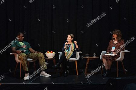 Stock Picture of Alice Waters, Ron Finley, Davia Nelson. Ron Finley, from left, Alice Waters, and Davia Nelson seen on day three of Summit LA19 in Downtown Los Angeles, in Los Angeles