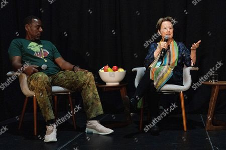 Stock Picture of Alice Waters, Ron Finley. Ron Finley, left, and Alice Waters seen on day three of Summit LA19 in Downtown Los Angeles, in Los Angeles