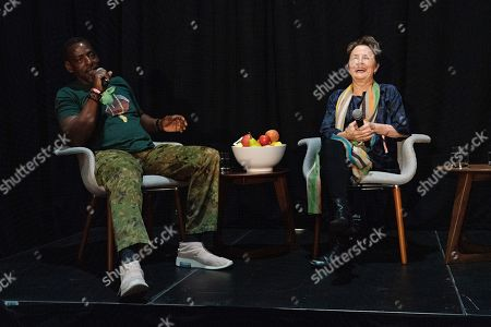 Alice Waters, Ron Finley. Ron Finley, left, and Alice Waters seen on day three of Summit LA19 in Downtown Los Angeles, in Los Angeles