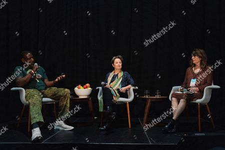 Stock Image of Alice Waters, Ron Finley, Davia Nelson. Ron Finley, from left, Alice Waters, and Davia Nelson seen on day three of Summit LA19 in Downtown Los Angeles, in Los Angeles