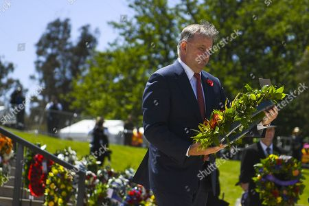 Stock Photo of Australian Opposition Leader Anthony Albanese lays a wreath during a Remembrance Day event at the Australian War Memorial in Canberra, Australia, 11 November 2019. Monday 11 November 2019 marks the 101st anniversary of the Armistice which ended the First World War in 1918.