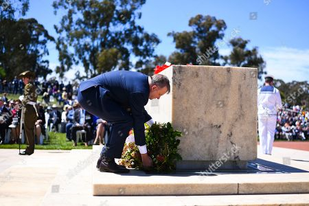 Stock Picture of Australian Opposition Leader Anthony Albanese lays a wreath during a Remembrance Day event at the Australian War Memorial in Canberra, Australia, 11 November 2019. Monday 11 November 2019 marks the 101st anniversary of the Armistice which ended the First World War in 1918.