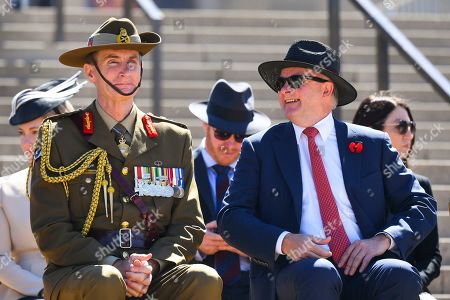 Australian Opposition Leader Anthony Albanese (R) and The Chief of the Defence Force (CDF) Angus Campbell (L) attend a Remembrance Day event at the Australian War Memorial in Canberra, Australia, 11 November 2019. Monday 11 November 2019 marks the 101st anniversary of the Armistice which ended the First World War in 1918.