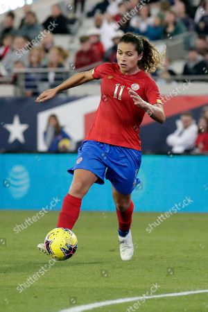 Costa Rica midfielder Raquel Rodriguez (11) moves the ball against the United States during the second half of an international friendly soccer match, in Jacksonville, Fla