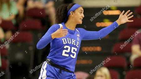 Duke forward Jade Williams (25) looks to defend against Texas A&M during an NCAA women's basketball game, in College Station, Texas