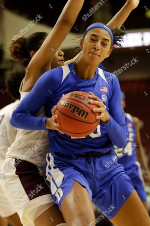 Duke forward Jade Williams (25) tries to back into the paint against Texas A&M forward N'dea Jones (31) during an NCAA women's basketball game, in College Station, Texas