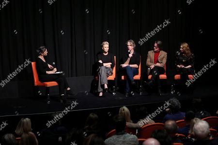 Alison Bailes, Charlize Theron, Jay Roach, Charles Randolph and Regina Spektor