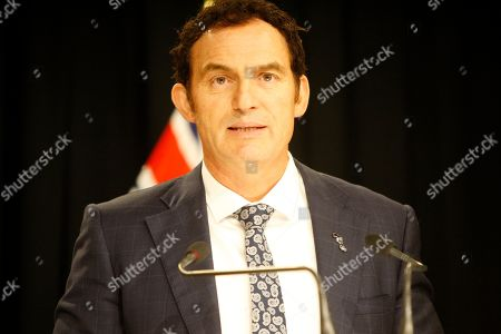 Stock Image of Police Minister Stuart Nash talks to reporters, in Wellington, New Zealand. New Zealand's government on Monday proposed legislation to ban certain criminals from being anywhere near guns even if they don't own them, a measure that politicians acknowledge has significant human rights implications