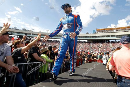 Stock Image of Ricky Stenhouse Jr. greets fans during driver introductions prior to the NASCAR Cup Series auto race at ISM Raceway, in Avondale, Ariz