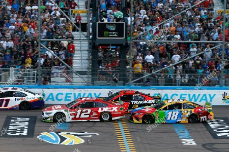 Ryan Blaney (12), Kyle Busch (18), Martin Truex Jr. (19) and Denny Hamlin (11) during the NASCAR Cup Series auto race at ISM Raceway, in Avondale, Ariz