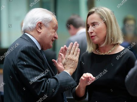 Spanish State Secretary for Foreign Affairs Fernando Valenzuela Marzo (L) chats with European Union foreign policy chief Federica Mogherini during a joint European Foreign Affairs Council in Brussels, Belgium, 11 November 2019.