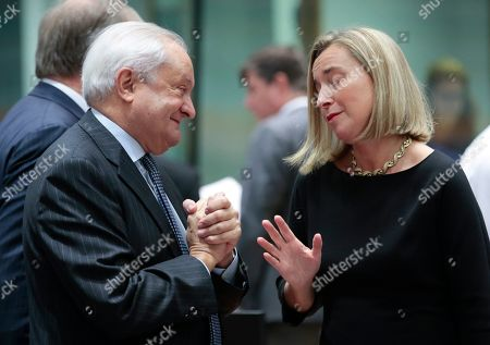 Stock Photo of Spanish State Secretary for Foreign Affairs Fernando Valenzuela Marzo (L) chats with European Union foreign policy chief Federica Mogherini during a joint European Foreign Affairs Council in Brussels, Belgium, 11 November 2019.