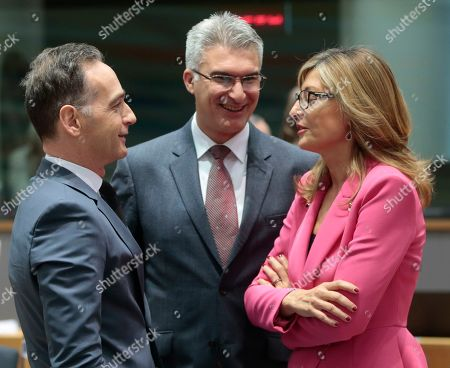 (L-R) German Foreign Minister Heiko Maas, Malta'se Foreign Minister Carmelo Abela and Bulgarian Minister of Foreign Affairs Ekaterina Zaharieva during a joint European Foreign Affairs Council in Brussels, Belgium, 11 November 2019.