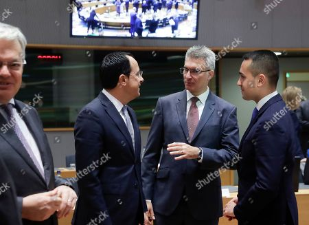 (L-R) Cyprus' Minister of Foreign Affairs Nikos Christodoulides, Minister of Foreign Affairs of Malta, Carmelo Abela, and Italian Foreign Minister Luigi Di Maio during a joint European Foreign Affairs Council in Brussels, Belgium, 11 November 2019.