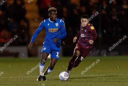 Stock Picture of Theo Robinson of Colchester United and Anthony Georgiou of Ipswich Town