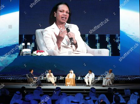 Former US secretary of state Condoleezza Rice (2-L) speaks during the opening ceremony of the Abu Dhabi International Petroleum Exhibition and Conference (ADIPEC) in Abu Dhabi, United Arab Emirates, 11 November 2019. The event runs between 11 and 14 November 2019.