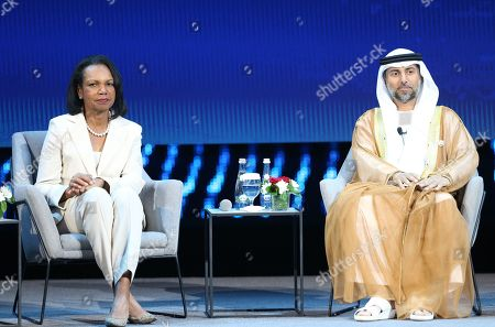 Suhail Mohamed Al Mazrouei (R), Minister of Energy and Industry of the United Arab Emirates, and Former US Secretary of State Condoleezza Rice (L) attend the opening ceremony of the Abu Dhabi International Petroleum Exhibition and Conference (ADIPEC) in Abu Dhabi, United Arab Emirates, 11 November 2019. The event runs between 11 and 14 November 2019.