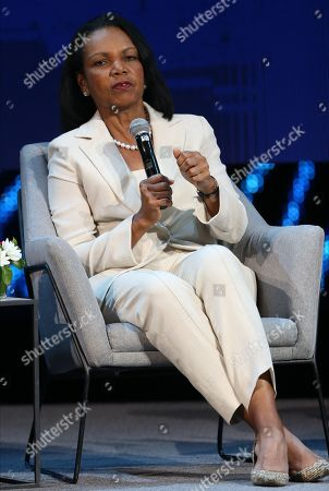 Former US Secretary of State Condoleezza Rice speaks during the opening ceremony of the Abu Dhabi International Petroleum Exhibition and Conference (ADIPEC) in Abu Dhabi, United Arab Emirates, 11 November 2019. The event runs between 11 and 14 November 2019.