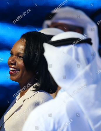 Former US Secretary of State Condoleezza Rice reacts during the opening ceremony of the Abu Dhabi International Petroleum Exhibition and Conference (ADIPEC) in Abu Dhabi, United Arab Emirates, 11 November 2019. The event runs between 11 and 14 November 2019.
