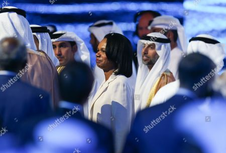 Former US Secretary of State Condoleezza Rice (C) leaves after the opening ceremony of the Abu Dhabi International Petroleum Exhibition and Conference (ADIPEC) in Abu Dhabi, United Arab Emirates, 11 November 2019. The event runs between 11 and 14 November 2019.