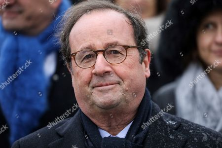 French former president Francois Hollande attends a ceremony at the Arc de Triomphe in Paris, France, 11 November 2019, as part of the commemorations marking the 101st anniversary of the 11 November 1918 armistice, ending World War I (WWI).