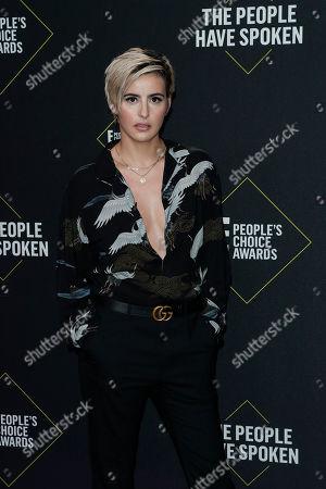 Jacqueline Toboni arrives for the 2019 People's Choice Awards at the Barker Hangar in Santa Monica, California, USA, 10 November 2019.